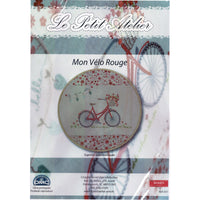 French Hand Embroidery Kit - Red Bicycle
