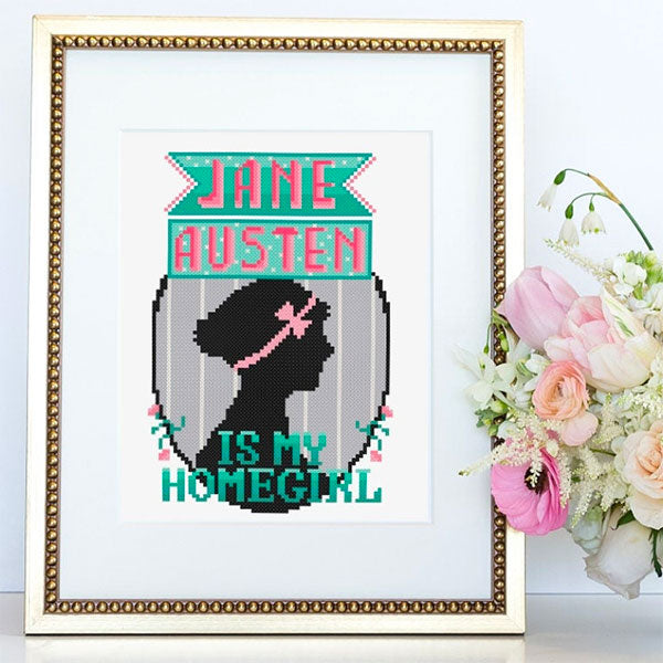 Jane Austen is my Homegirl Cross Stitch Pattern
