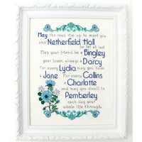 Pride & Prejudice Blessing Cross Stitch Pattern