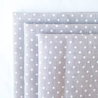 Gray/White Polka Dot Linen Fabric - 32 Count