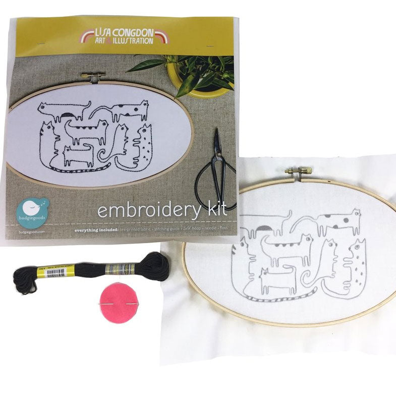 Lisa Congdon Hand Embroidery Kit - Cats