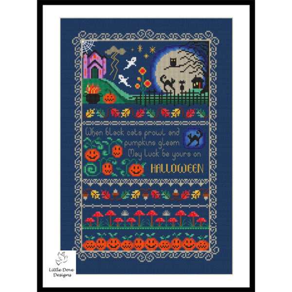Black Cats and Pumpkins Cross Stitch Pattern