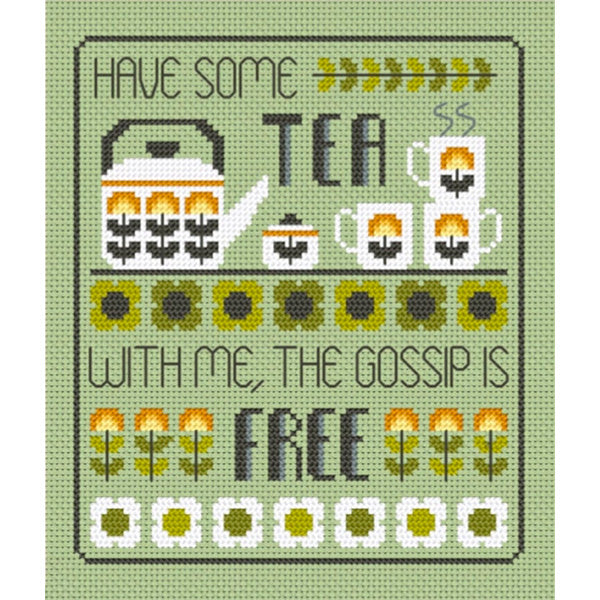 Tea and Gossip Cross Stitch Pattern