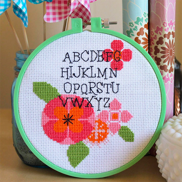 Modern Flower Alphabet Cross Stitch Pattern