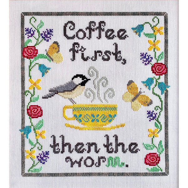 Coffee First Cross Stitch Pattern