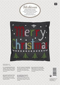 Cross Stitch Felt Pillow Kit - Merry Christmas