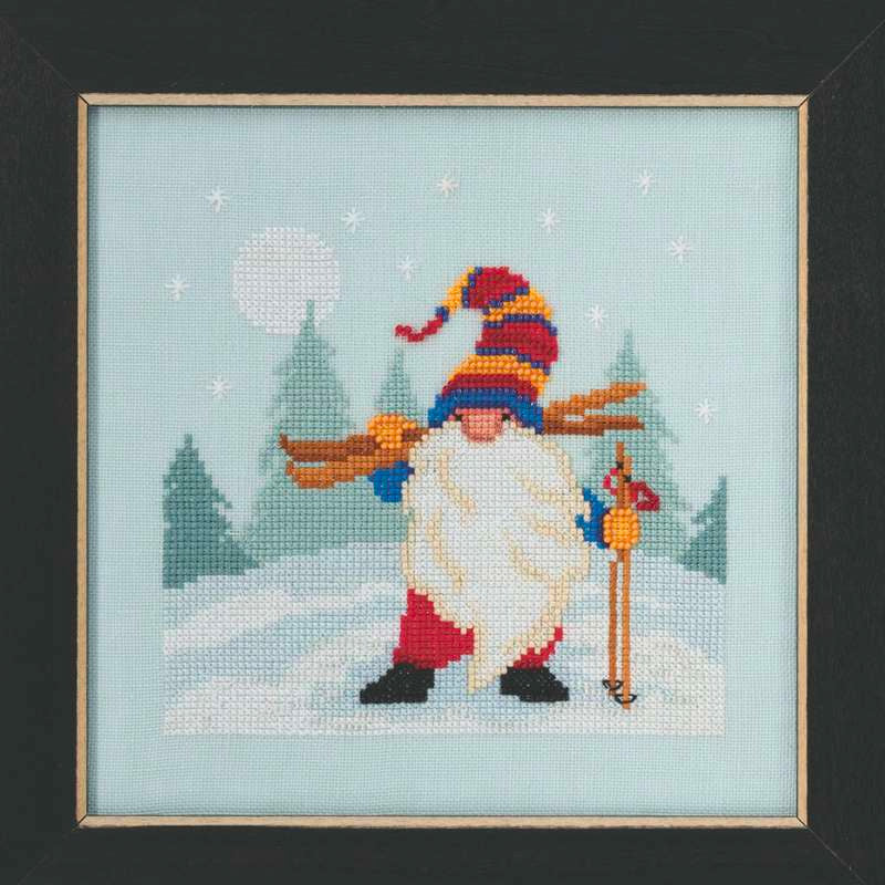 Skiing Gnome Cross Stitch Kit