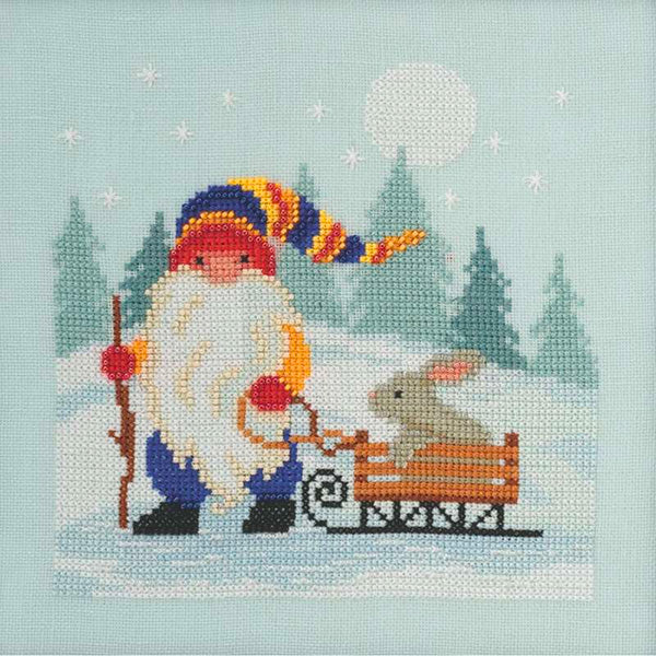 Sledding Gnome Cross Stitch Kit