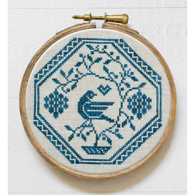 Bird in a Grapevine Cross Stitch Pattern