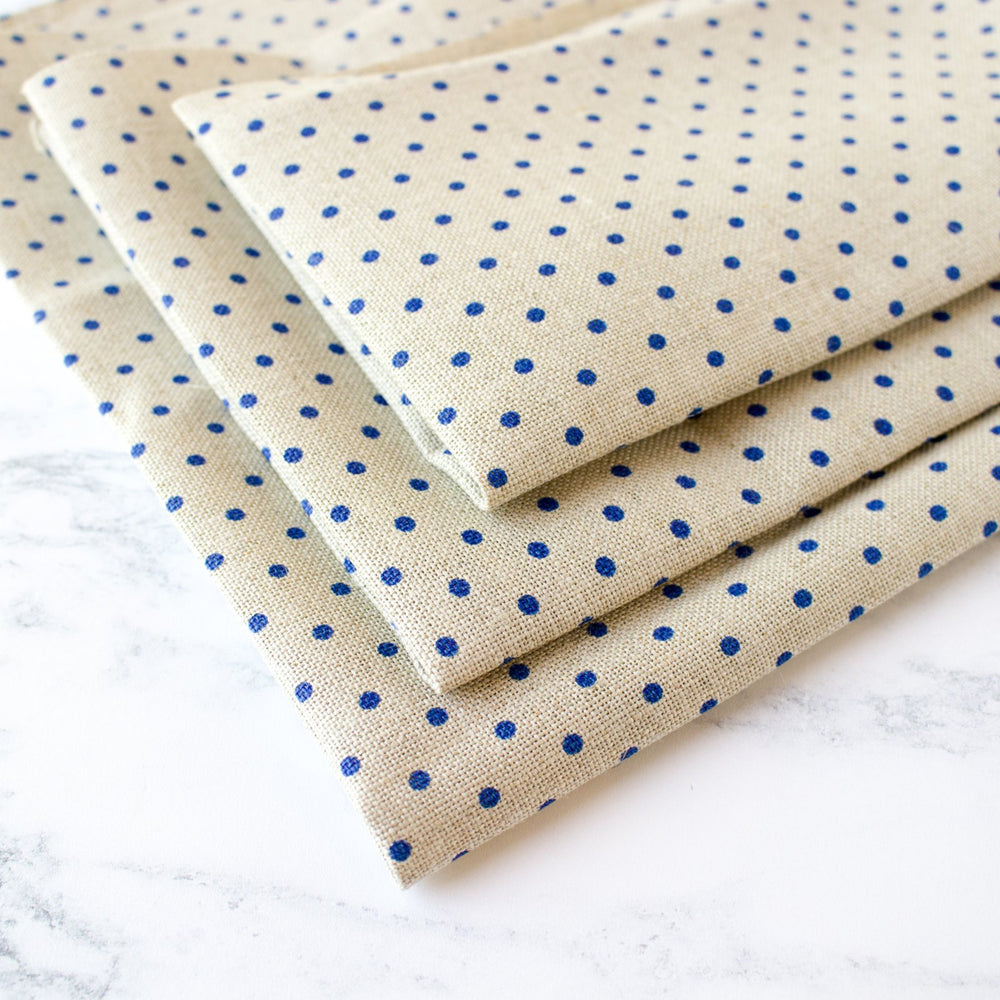 Natural/Blue Polka Dot Linen Fabric - 32 Count