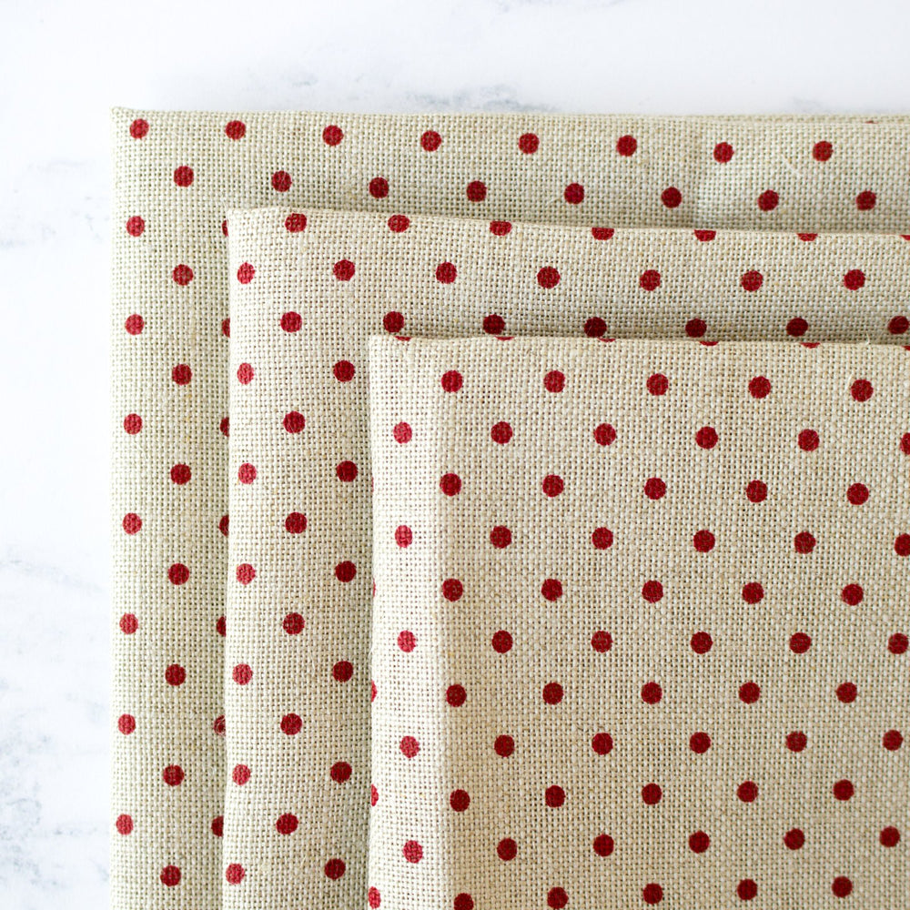 Natural/Red Polka Dot Linen Fabric - 32 Count