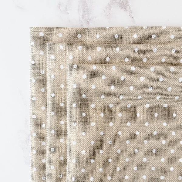 Natural and White Polka Dot Linen Fabric for Cross Stitch and Embroidery