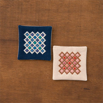 Kogin Embroidery Coaster Kit - Tile