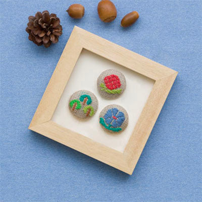 Kogin Embroidery Covered Button Kit - Floral Set 2