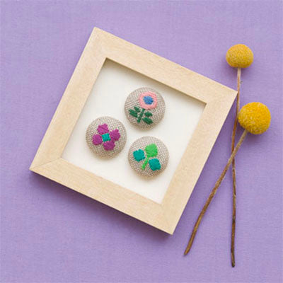 Kogin Embroidery Covered Button Kit - Floral Set 3
