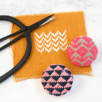Kogin Embroidery Covered Button Kit - Geometric Set 3