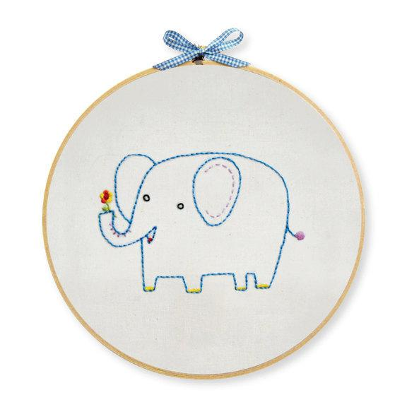Elephant Hand Embroidery Wall Art Kit