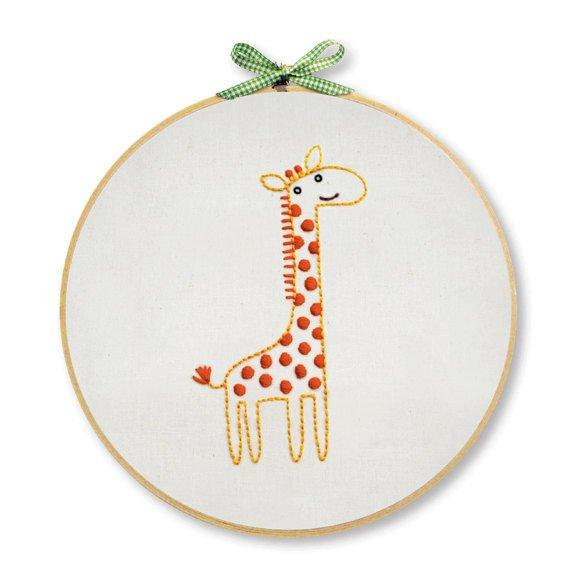 Giraffe Hand Embroidery Wall Art Kit