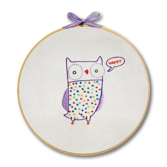 Owl Hand Embroidery Wall Art Kit