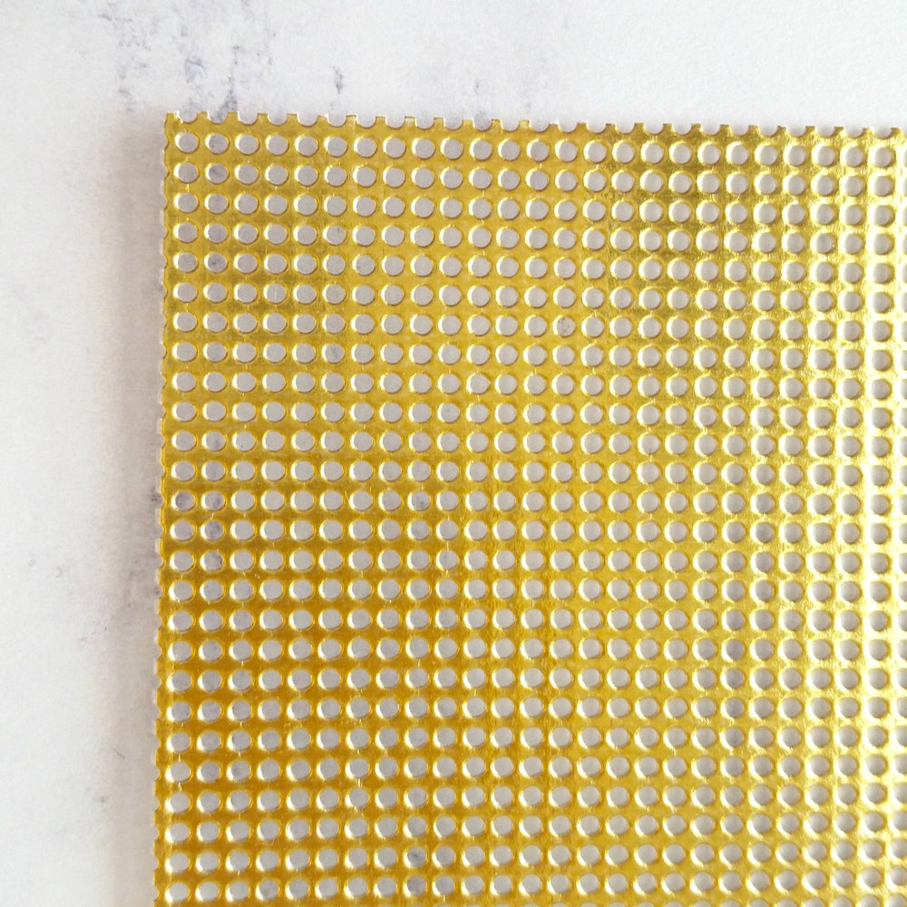 Shiny Metallic Gold Perforated Paper