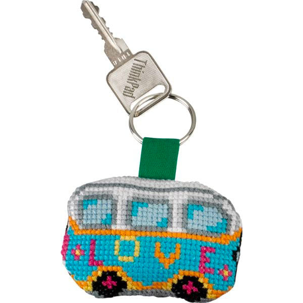 Cross Stitch Key Ring Mini Kit - Retro Vehicles