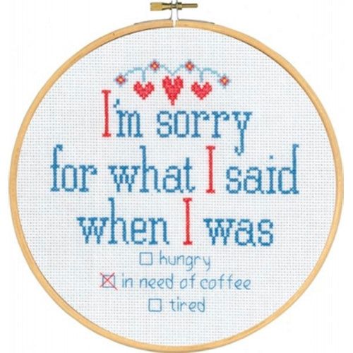 'I'm Sorry' Cross Stitch Quote Kit