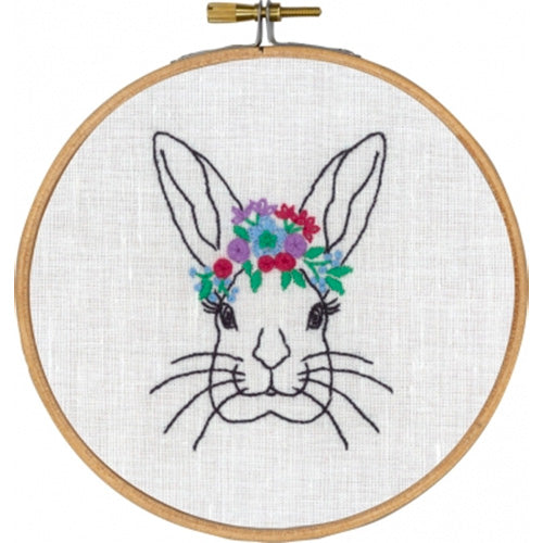 Rabbit with Flowers Hand Embroidery Wall Art Kit