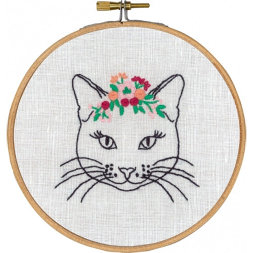 Cat with Flowers Hand Embroidery Wall Art Kit