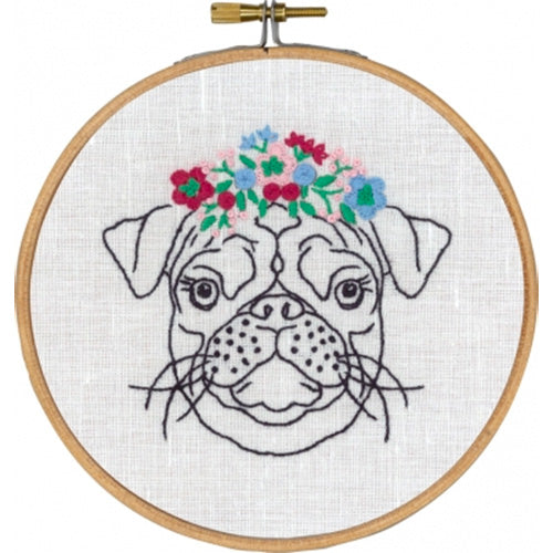 Dog with Flowers Hand Embroidery Wall Art Kit