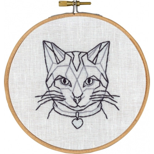 Geometric Cat Hand Embroidery Wall Art Kit