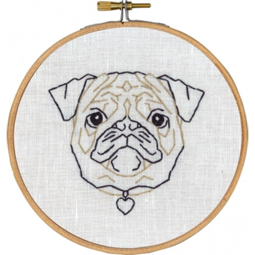 Geometric Dog Hand Embroidery Wall Art Kit