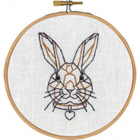 Geometric Rabbit Hand Embroidery Wall Art Kit