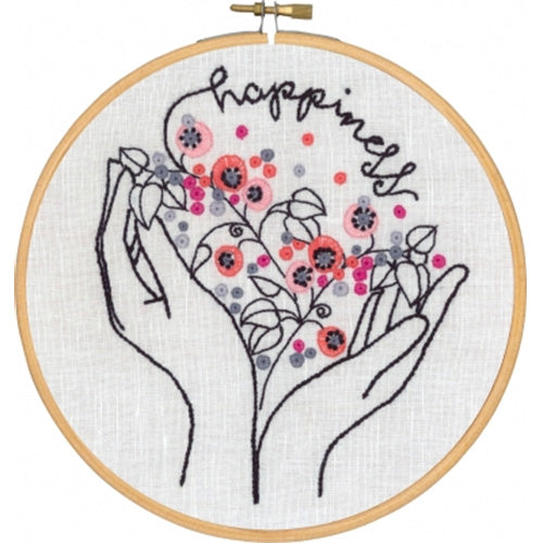 Happiness Hands Hand Embroidery Wall Art Kit
