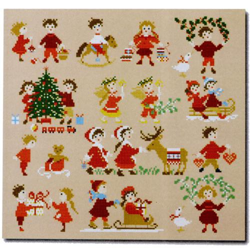 Happy Childhood Christmas Cross Stitch Pattern