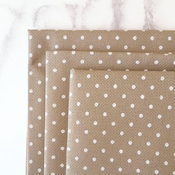 Natural/White Polka Dot Aida Cross Stitch Fabric
