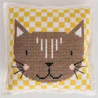 Cross stitch felt pillow cushion kit rico design cute kitten cat geometric checks