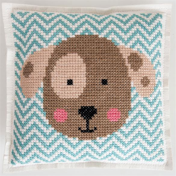 Cross stitch felt pillow cushion kit rico design cute puppy dog chevron