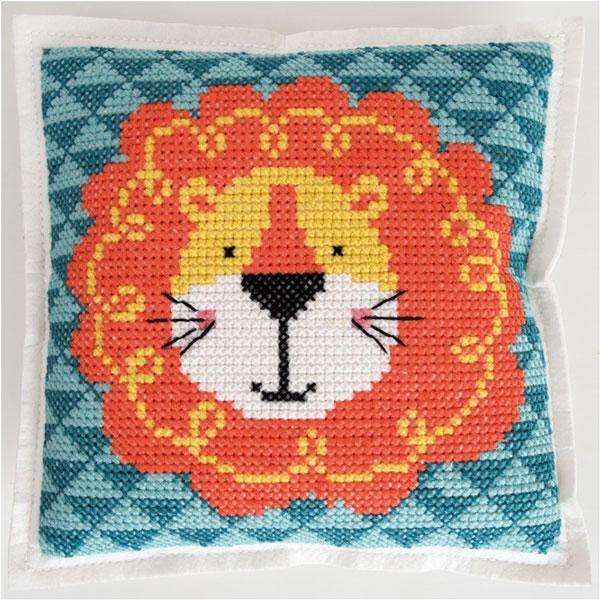 Cross stitch felt pillow cushion kit rico design cute lion geometric