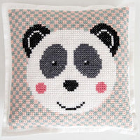 Cross stitch felt pillow cushion kit rico design panda bear geometric checks