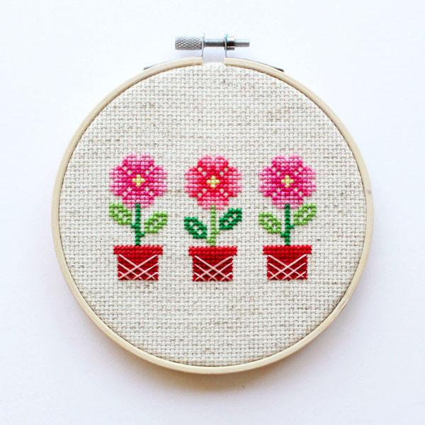 Potted Flowers Cross Stitch Kit