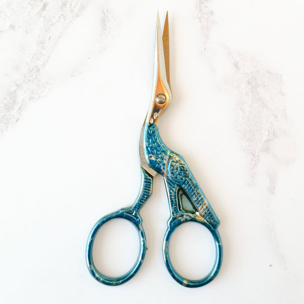 Metallic stork embroidery scissors