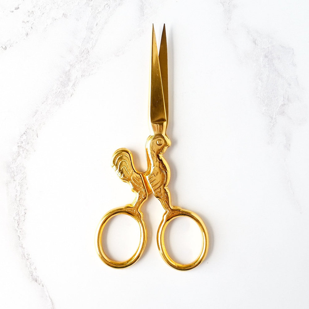 Gold-plated chicken embroidery scissors