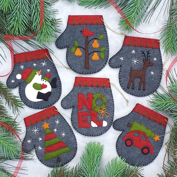 Charcoal Mitten Ornament Wool Felt Appliqué Kit