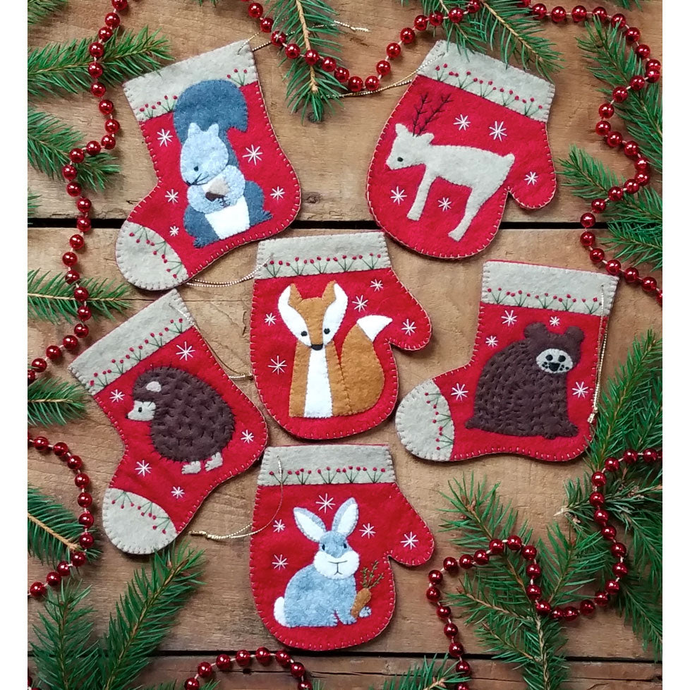 Wool Felt Ornament Appliqué Kit - Christmas Critters