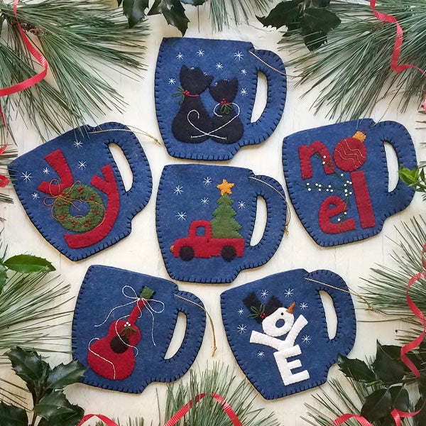 Merry Mugs Ornament Wool Felt Appliqué Kit