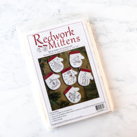 Redwork Mitten Ornament Wool Felt and Hand Embroidery Kit