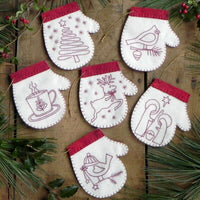 Redwork Mitten Ornament Wool Felt and Embroidery Kit