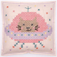 Cross stitch felt pillow cushion kit rico design cat in space spaceship kitten