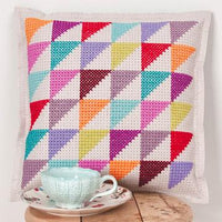 Cross stitch felt pillow cushion kit rico design geometric triangle modern design