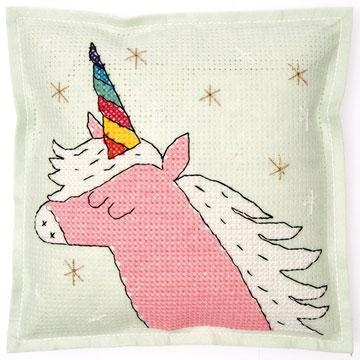 Cross stitch felt pillow cushion kit rico design sparkly unicorn